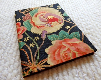 Japanese Notebook; Elegant Crane, Mt. Fuji, and Roses B6-size Fabric Covered Retro Notebook; Black Pink Green Gold Cream Red;Black/red plaid