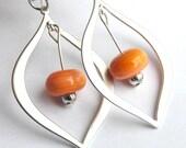 Coral Earrings, Orange Earrings, Silver Teardrop Earrings, Sterling Silver Earrings, Dangle Earrings, Coral Beaded Earrings, Modern Earrings