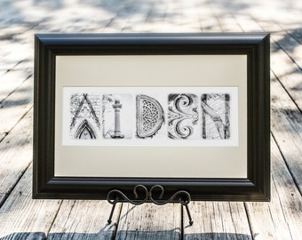 Alphabet Photography Personalized Name Frame in Architecture Letter Photos - Black Frame 11x17