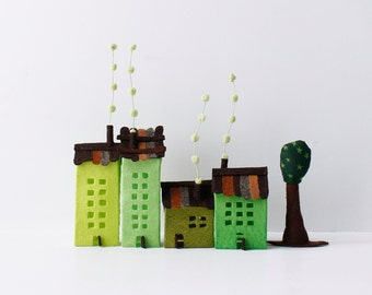 Four felt buildings with tree. Green colors, Urban Miniature.