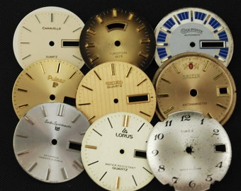 Vintage Antique Watch Dials Steampunk  Faces Parts Altered Art Industrial O 18
