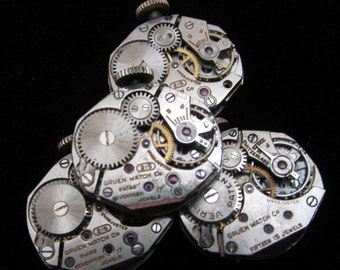 4 Vintage Watch Movements Parts Steampunk Altered Art Assemblage A 3