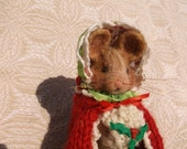 Christmas Mouse Needle Felted Wool, Soft Sculpture Woodland Animal, OOAK Design, Poseable, Hand Knitted Cloak, Felt Bonnet, White Wool Muff