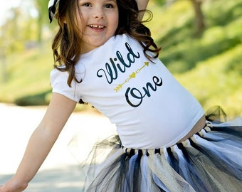 Wild One Tshirt with Black, White & Gold Tutu, Perfect for 1st Birthday, Cake Smash Birthday Photos