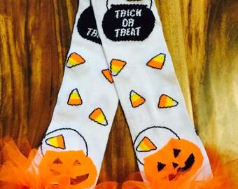 Trick or Treat candy corn Ruffle tutu leg warmers, Tutu Leggings, Perfect for your little pumpkin, Halloween costume, party, photos