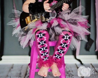 "Ruffle Tutu Leg Warmers - Hot Pink Skull & Crossbones  - Perfect for Photo Prop, Birthday, Halloween Costume, Party Photos Approx 6"" long"