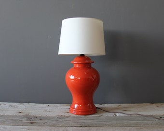 Bright Orange Coral Red Ceramic Ginger Jar Urn Lamp