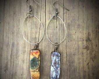 Dangle drop earthy woodland quartz earrings on silver loop