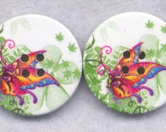 Butterfly Flower Buttons Decorated Wooden Buttons  30mm (1 1/4 inch) Set of 2 /BT375