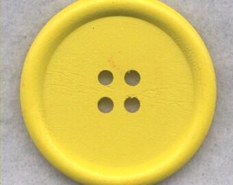 Yellow Wood Buttons Wooden Buttons 40mm (1 5/8 inch) Set of 2 /BT527D
