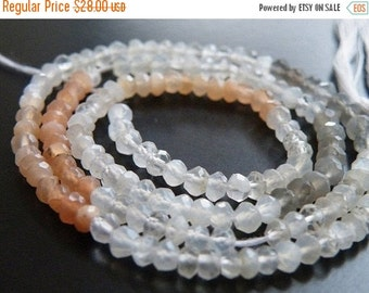 Clearance SALE Moonstone Gemstone Rondelle AAA Multi Faceted  4mm Full Strand 120 beads