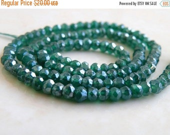 49% Off Sale Mystic Green Onyx Gemstone Rondelle AAA Emerald Green Faceted 3.5mm Full Strand 120 beads