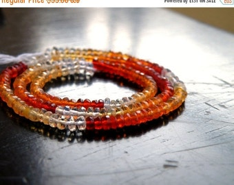 49% Off Sale Incredible Mexican Fire Opal Gemstone Faceted Rondelle Shaded Orange 3mm 180 beads Full Strand