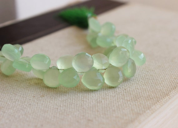 Green Chalcedony Briolette Gemstone Faceted Heart 10 to 11mm 20 beads 1/2 Strand