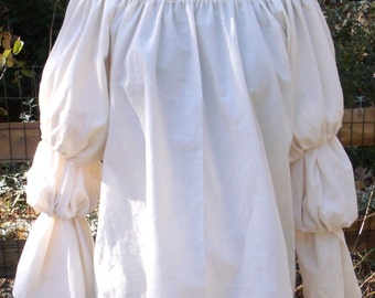 Pirate Wench Gypsy Renaissance Blouse Chemise CREME