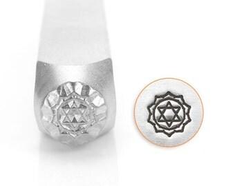 Heart Chakra Design Stamp, Spiritual Metal Stamp, Carbon Steel Stamp, ImpressArt Stamp, SC1518-L-6MM, Anahata, Fourth Chakra, Bopper