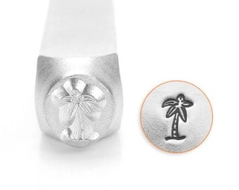 Palm Tree Design Stamp, Metal Stamp, Carbon Steel Stamp, ImpressArt Stamp, SC1519-M-6MM, Ocean Stamp, Bopper, Arecacea, Beach Tree