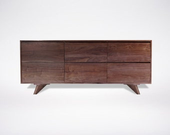 Modern Walnut dresser Solid Wood Handmade Organic Finish Contemporary mid century modern design Hairpin Legs