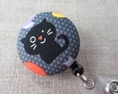 Retractable Badge Holder | Badge Reel, Nurse Badge Reel, ID Badge Holder, Badge Clip, Cute Badge Reel - BLACK KITTY