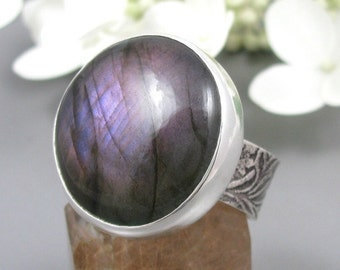 Purple Labradorite Ring Sterling Silver - Big Round Labradorite Statement ring - US size 9 - large Labradorite ring - boho Ring