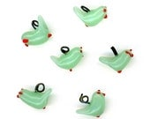 Vintage Green Glass Bird Beads Wire Loops on Top 13mm Beak to Tail 6 Pcs.