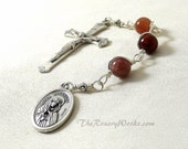 Three Hail Mary Marys Devotion Chaplet Mater Dolorosa Mother of Sorrows Mauve  Wire Wrapped Unbreakable Catholic Prayer Beads Gift Under 20
