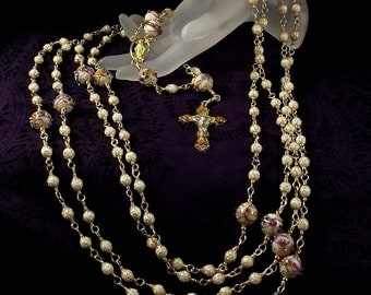 Lazo Wedding Rosary Custom Made to Order Lasso White Wedding Cake Beads Miraculous Medal Gold Finished PewterUnbreakable Wire Wrapped