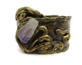 Brutalist Jewelry - Brutalist Bracelet, Amethyst Nugget Bracelet, Signed Designer Jewelry, Hinged Bracelet, Bangle, Vintage Brass Jewelry