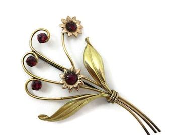 Red Rhinestone Flower Brooch - 12k Gold Fill, Harry Iskin Jewelry