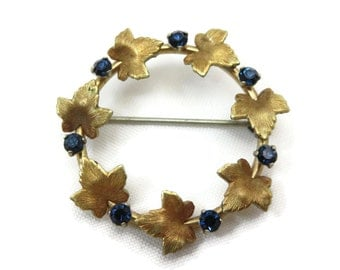 Gold Wreath Brooch - Krementz Jewelry, Ivy Leaves, Blue Rhinestone