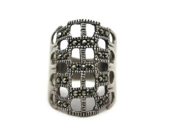 Sterling Silver Marcasite Ring - Cage Statement Ring, Long Ring