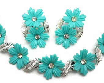 Teal Flower Necklace and Earring Set - Rhinestone, Thermoset Plastic, Silver and Turquoise Blue, Coro, Costume Jewelry