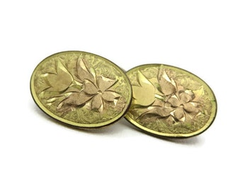 Etched Gold Cufflinks - HWK Co, 1900s, For Him, Grooms Gift