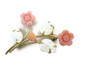 Coral Brooch - Carved Mother of Pearl, Flowers