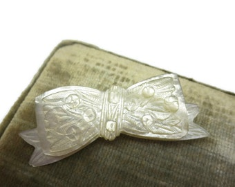 Antique Bow Brooch - Vintage, Victorian Jewelry, Carved Mother of Pearl, Roses 1800s