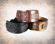 Jagged Celtic Knot - Leather Watch Cuff, Leather Watch Strap, Leather Watch Band, Brown Watch Cuff, Men's Watch Cuff (1 Watch Cuff Only)