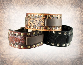 Riveted Floral, Watch Cuff,Leather Watch Strap, Leather Watch Band, Brown Watch Cuff, Men's Watch Cuff - Custom to You (1 cuff only)