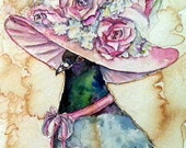 Mrs Pigeon- Coffee and Watercolor Victorian Steam Punk Fine art print, derby, top hat, fancy, bird, pink rose, plume, feather, baby breathe