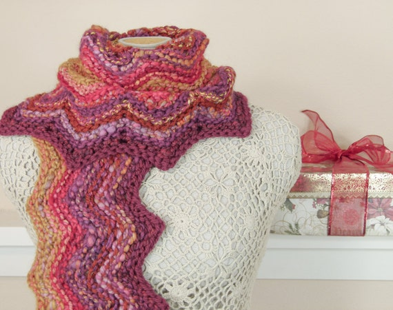 Long Hand Knit Chevron Scarf - Handspun Yarn Scarf in Sangria Colors, OOAK - Item 1135