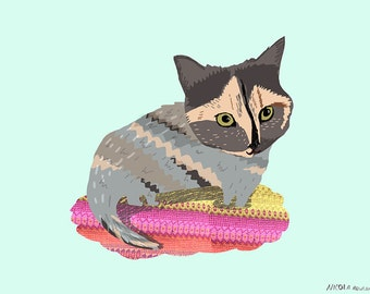 Kitty on pretty rug card cc145