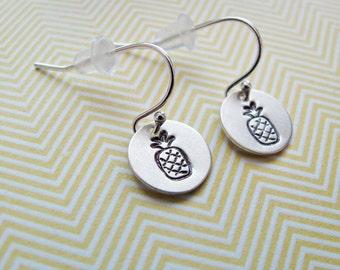 hand stamped pineapple earrings