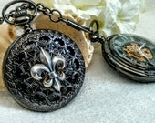 Steampunk Silver Fleur-de-Lis Pocket Watch - Mens Skeleton Mechanical Watch - Gift for Him, Wedding, Anniversary