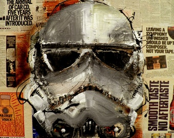 Original Contemporary Painting - Star Wars - Stormtrooper - Modern Abstract Art by SLAZO - 36x36 - Made to Order