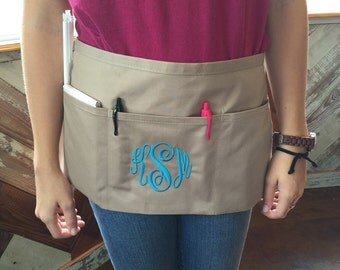 Monogrammed apron for a server waitress hair dresser stylist
