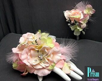 Feminine Pink Rose Feather Wrist Corsage Set