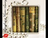 Library Necklace - Book Necklace - Library Jewelry - Book Jewelry - Vintage Book Pendant Style-C - Literary Necklace - Reading Neklace