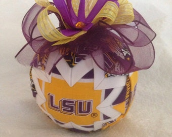 Louisiana State University Tigers Inspired Quilted Christmas Ornament