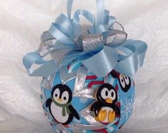 Christmas Penguin Quilted Star Christmas Ornament  Hostess Gift  Teacher Gift