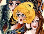 "Fridge Magnet Art Print of Original ""Divas"" Painting Fashionable Ladies Faces on Etsy"