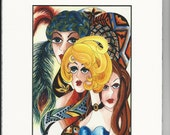 "Watercolor Print ""Three Divas"" Matted Archival Whimsical Ladies Faces on Etsy"